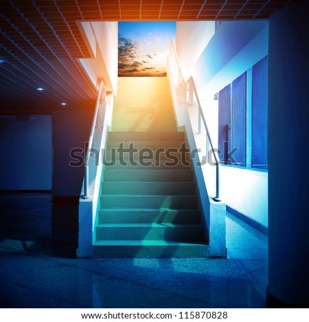 Stairs leading to the sky, abstract expression.