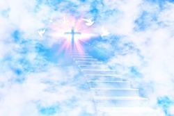 Stairs leading to the sky with a glittering cross and flying doves. Horizontal composition.
