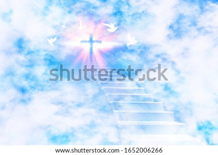 Stairs leading to the sky with a glittering cross and flying doves. Horizontal composition. Stock photo ©