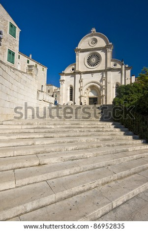 Stairs leading to the St.James cathedral in Sibenik, listed in the UNESCO world heritage, built in medival entirely of stone and marble