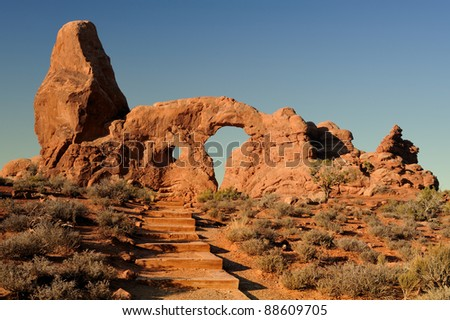 Stairs leading to the Turret Arch during the early morning in Arches National Park near Moab, Utah