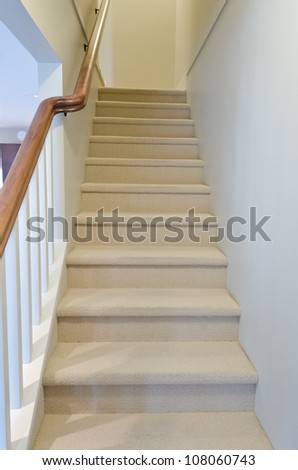Stairs leading to the upper,  low  level. Interior design.