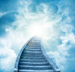 Stairs leading up to sky. Stairway to heaven