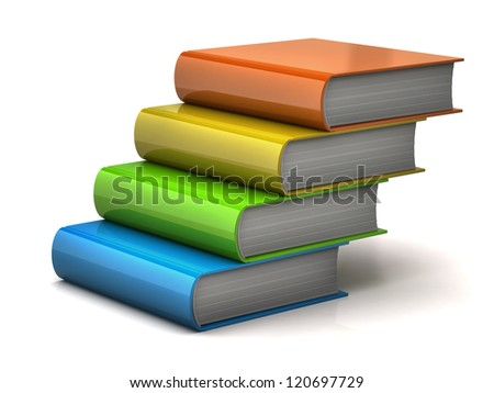 Stairs made of colorful books - stock photo