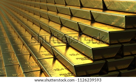 Stairs made of gold bars or bullions, 3D rendering. Success or getting rich concepts