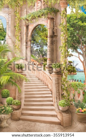 stock photo stairs near the arch 355913954 - Каталог — Фотообои «Балконы, арки»