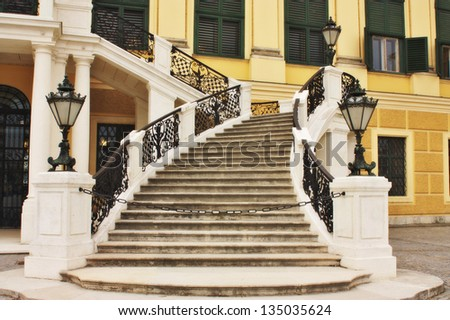 Stairs of a famous Schonbrunn palace in Vienna Austria
