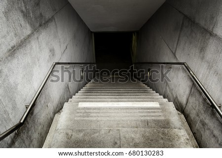 Stairs of an access to an underground tunnel, detail of stairs for pedestrians #680130283