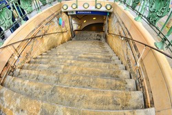 Stairs of the abbesses subway station in Montmartre, Paris