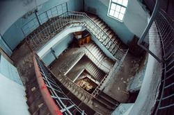 stairs. old building. abandoned building. old factory. Old Stairs. great space