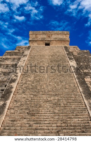 Stairs on anicent Mayan pyramid in Chichen-Itza, Mexico