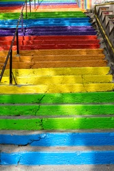 Stairs painted in rainbow colors background in Istanbul
