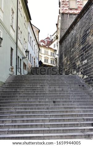stairs Radnicke schody in Prague,capital city of Czech republic Zdjęcia stock ©