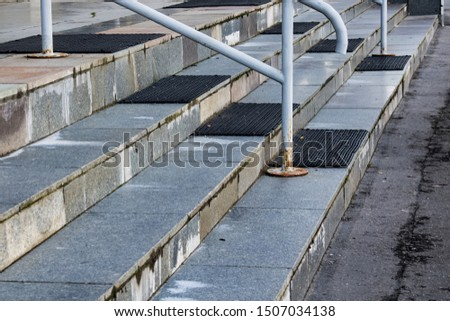 Stairs stairs with railing close up, urban