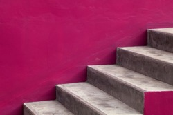 Stairs steps with pink background - construction detail.