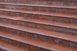 stairs, terracotta tiles - terracotta tiled stairway closeup -