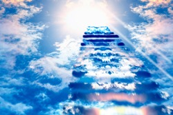 Stairs to Heaven. Heaven's gate. Religious background. Steps to the sky.