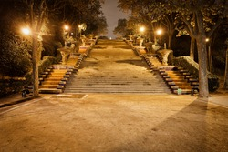 Stairs to Montjuic Hill at night in Barcelona, Spain, Passeig de Jean Forestier