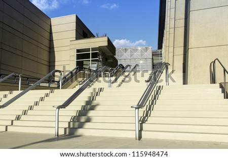 Stairs to office building in the late afternoon