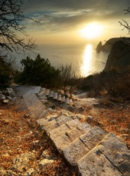 Stairs to sea. Landscape composition.