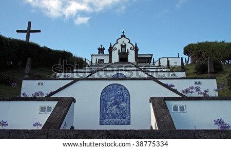 Stairs to the little church Ermida da Nossa Senhora da Paz near Vila Franca do Campo at Sao Miguel (Azores) - stock photo