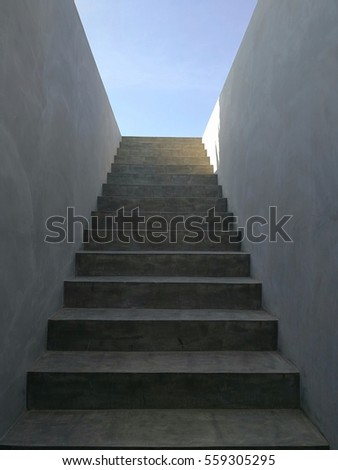 Stairs to the sky.Cement stairs to the deck #559305295