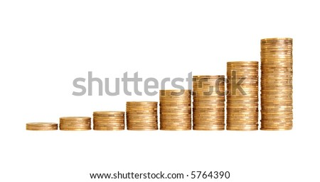stairs to wealth, made of columns of coins. Each column is isolated
