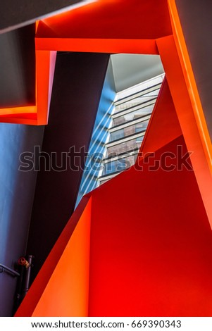 Stairs. Top view of modern architecture detail. Refined fragment of contemporary office interior or public building. #669390343