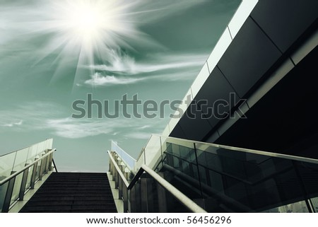 stairs under the sun, urban fantasy landscape