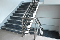 Stairs up and down between floors.