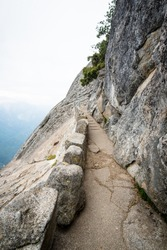 Stairs up to Moro Rock top, Sequoia National Park, Sierra Nevada mountain range, California, USA. Stairway listed in U.S. National Register of Historic Places.