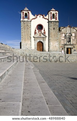 Stairs with a church in the background in Oaxaca, Mexico