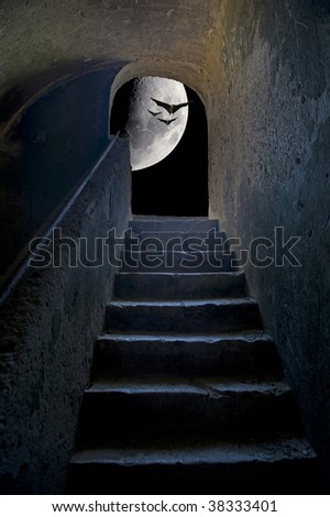 Stairs with moon and bats inside Forte Santa Caterina, Favignana island, Sicily, Italy