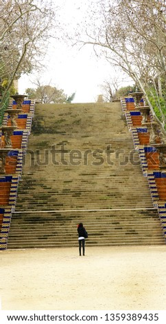 Stairs with ornamental pots in Montjuic, Barcelona, Catalunya, Spain, Europe #1359389435