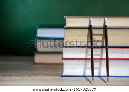 Stairs with pencil for effort and challenge in business to be achievement and successful concept.find opportunity and career part.