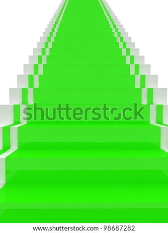 Stairs with red carpet. Success steps
