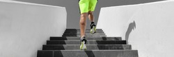 Stairs workout runner man running up climbing stair outdoor gym cardio hiit interval run training panoramic banner background.