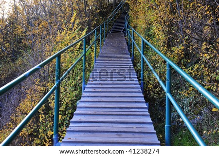 Stairway access to seaside beach in victoria, british columbia, canada - stock photo