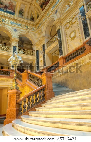 stairway. An interior of opera theatre. Lvov, Ukraine