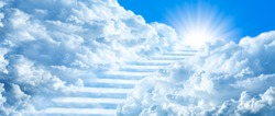 Stairway Curving Through Clouds Into The Light Of Heaven With Blue Sky