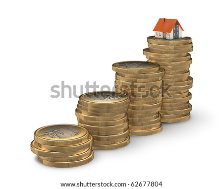 Stairway from coins leading to home - mortgaging concept