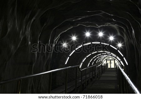 stairway in a salt mine - stock photo
