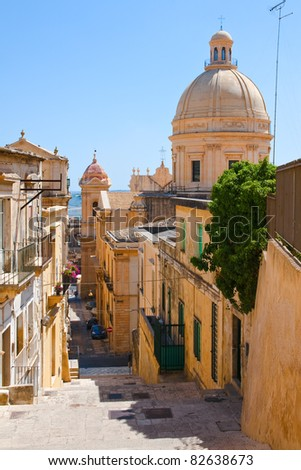 stairway in Noto - baroque style town in Sicily,