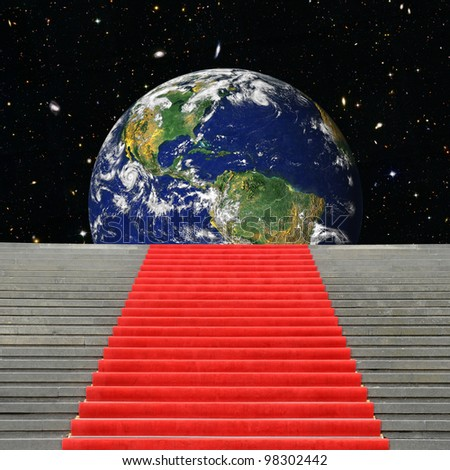 Stairway in the universe to planet Earth. Elements of this image furnished by NASA