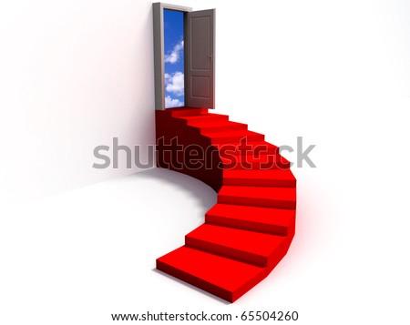 stairway leading to a open door
