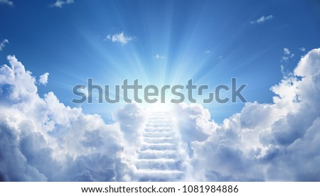Stairway Leading Up To Heavenly Sky Toward The Light   Stockfoto ©