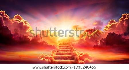 Stairway Leading Up To Sky At Sunrise - Resurrection And Entrance Of Heaven Photo stock ©