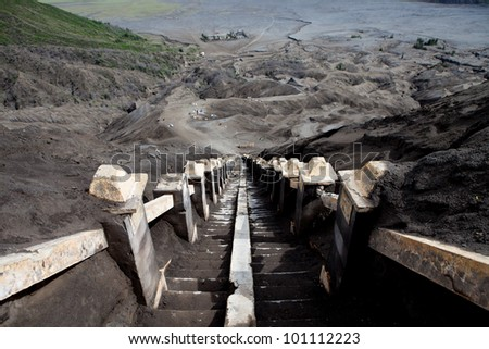 stairway Mount Bromo Volcano, East Java, Indonesia