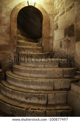 Stairway to Golgotha ??in the Holy Sepulchre in Jerusalem, Israel