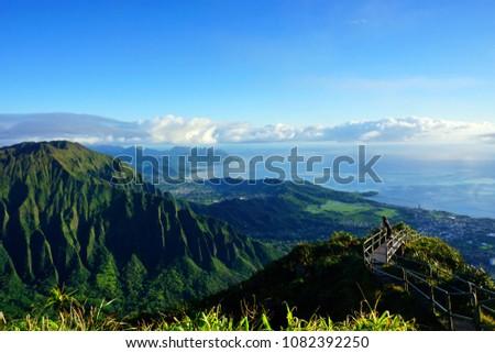 Stairway to Heaven, Haiku Stairs, Oahu island, Hawaii, USA, hiking trail